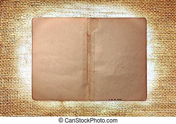 ouderwetse , grungy, boek, pagina's, op, burlap, achtergrond