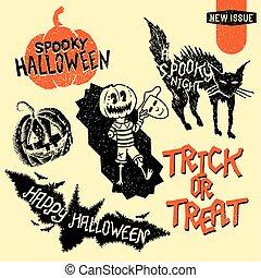 ouderwetse , halloween, communie, ontwerp