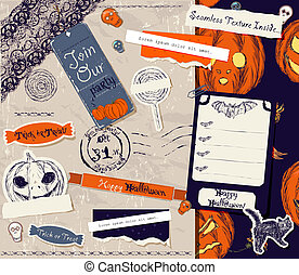 ouderwetse , halloween, scrapbooking, set.