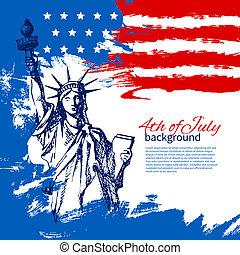 ouderwetse , hand, amerikaan, 4, ontwerp, achtergrond, flag., getrokken, juli, dag, onafhankelijkheid