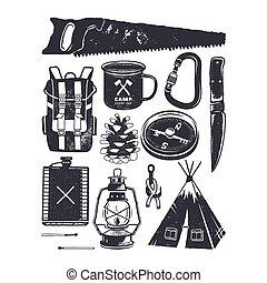 ouderwetse , hand, getrokken, kamperen, symbols., wandelende, iconen, in, retro, monochroom, style., silhouette, berg, avontuur, elements., perfect, voor, logo, creatie, infographics., liggen, vector