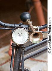 ouderwetse , handlebar., fiets, hoorn