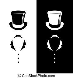 ouderwetse , heer, club, logo.