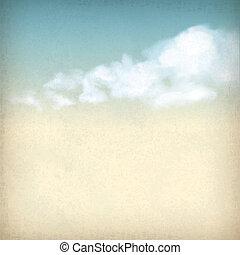 ouderwetse , hemel, wolken, oud, papier, textured,...