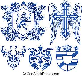 ouderwetse , heraldisch, koninklijk, element