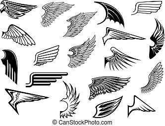 ouderwetse , heraldisch, set, vleugels