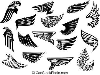 ouderwetse , heraldisch, set, vrijstaand, vleugels