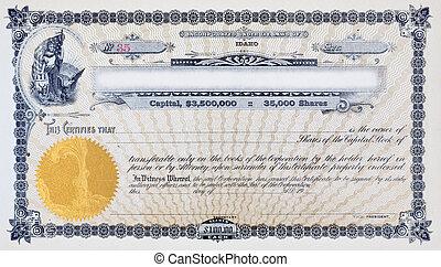 ouderwetse , het certificaat van de voorraad, vignet, vrouw, amerikaanse vlag, eland