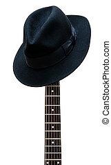 ouderwetse , hoedje, het rusten op, een, gitaar, fretboard,...