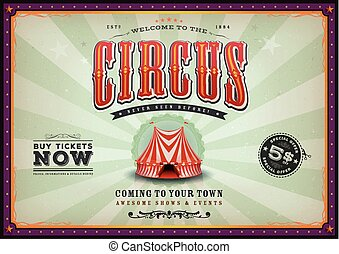ouderwetse , horizontaal, circus, poster, met, sunbeams