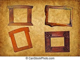 ouderwetse , houten kader, concept