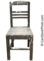 ouderwetse , houten stoel, vrijstaand, op wit, achtergrond