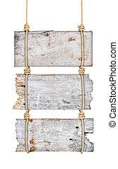 ouderwetse , houten, tekens & borden, op, de, koord, op, een, vrijstaand, witte achtergrond