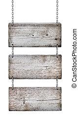 ouderwetse , houten, tekens & borden, op wit, achtergrond, vrijstaand