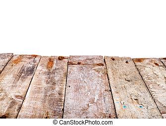 ouderwetse , houten, worktop, op, een, vrijstaand, witte achtergrond