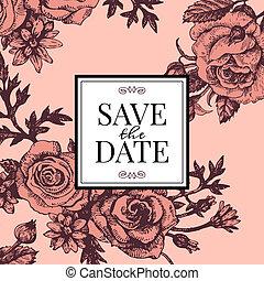 ouderwetse , huwelijk uitnodiging, met, roos, flowers.