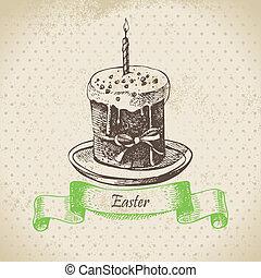 ouderwetse , illustratie, hand, achtergrond, getrokken, pasen, cake.