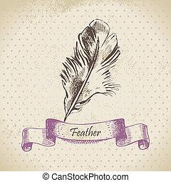 ouderwetse , illustratie, hand, feather., achtergrond, getrokken
