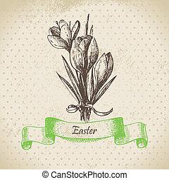 ouderwetse , illustratie, krokus, flowers., achtergrond, getrokken, hand, pasen