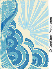 ouderwetse , illustratie, vector, sun., zee, golven, ...