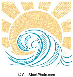 ouderwetse , illustratie, vector, sun., zee, golven, landscape