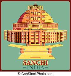 ouderwetse , india, poster, beroemd, madhya, stupa, monument...