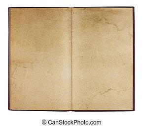 ouderwetse , informatieboekje , met, bevlekte, pagina's