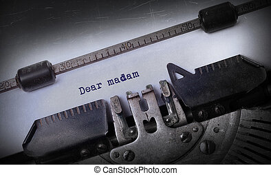 ouderwetse , inscriptie, gemaakt, door, oud, typemachine