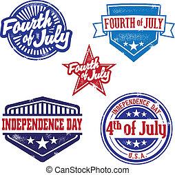 ouderwetse , juli, postzegels, vierde
