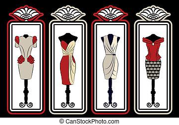 ouderwetse , jurkje, kant, versieringen