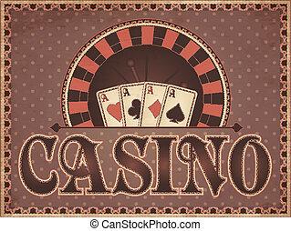 ouderwetse , kaart, casino, uitnodiging