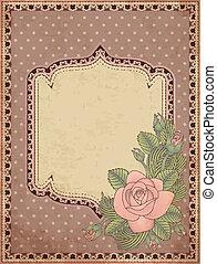 ouderwetse , kaart, groet, roos