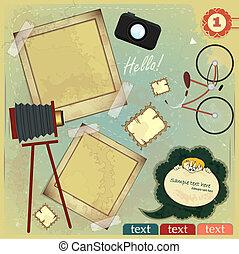 ouderwetse , kaart, -, plakboek, communie, op, grunge, achtergrond
