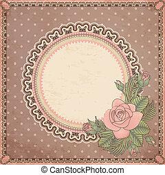 ouderwetse , kaart, roos, uitnodiging