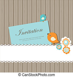 ouderwetse , kaart, uitnodiging