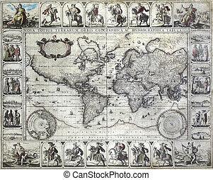 ouderwetse , kaart, van, de wereld