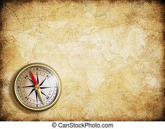 ouderwetse , kaartachtergrond, kompas