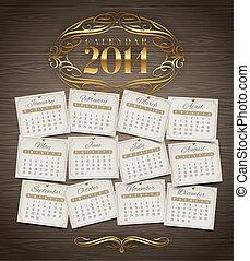 ouderwetse , kalender, 2014, jaar