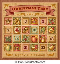 ouderwetse , kalender, advent, kerstmis