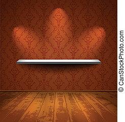 ouderwetse , kamer, plank