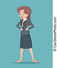 ouderwetse , karakter, illustratie, vector, ontwerp, retro, achtergrond, businesswoman, modieus, spotprent, pictogram