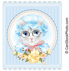 ouderwetse , kat, victoriaans, roses., verticaal, style., bril
