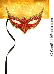 ouderwetse , kermis masker, met, de ruimte van het exemplaar