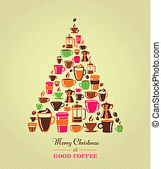 ouderwetse , kerstboom, koffie, iconen