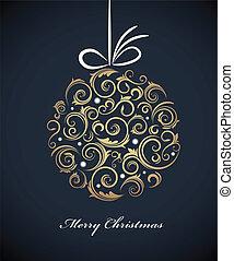 ouderwetse , kerstmis bal, met, retro, versieringen