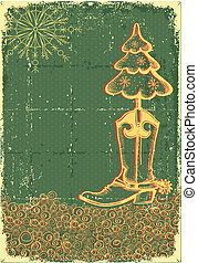 ouderwetse , kerstmis, groene, kaart, met, cowboy laars, en, fir-boom, op, oud, papaer, textuur, voor, tekst