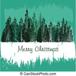 ouderwetse , kerstmis kaart, met, boompje