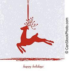 ouderwetse , kerstmis kaart, met, sierlijk, elegant, retro, abstract, textured, ontwerp