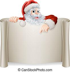ouderwetse , kerstmis, kerstman, meldingsbord