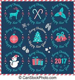 ouderwetse , kerstmis, logos